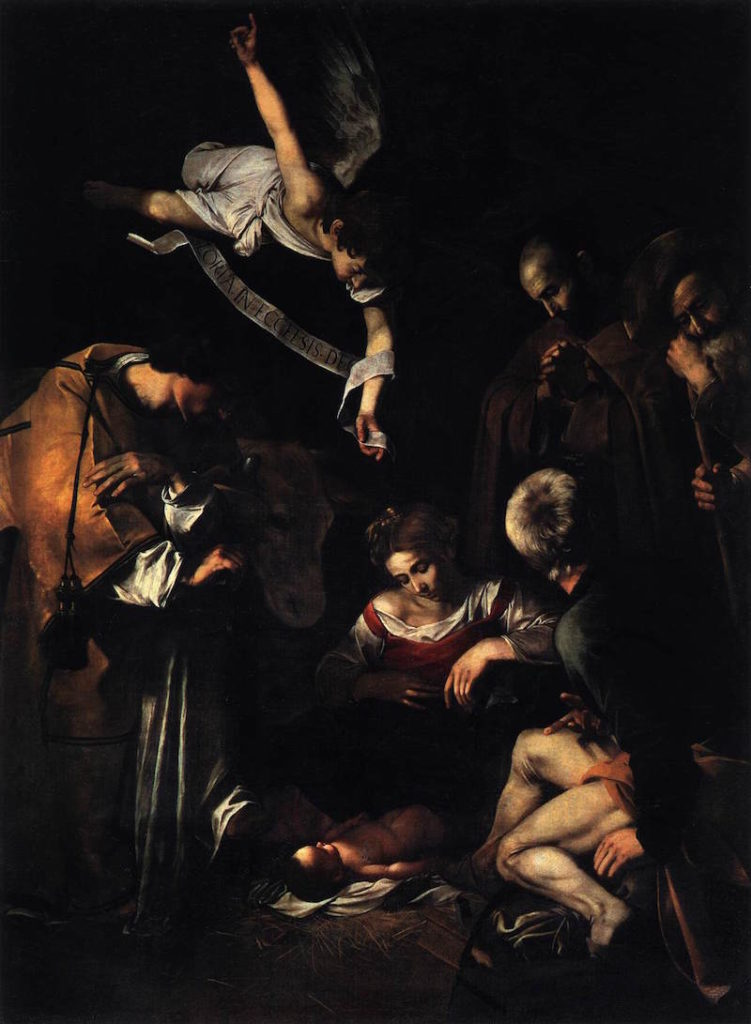 caravaggio nativity with st francis and st lawrence 1609